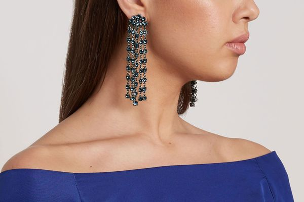 Oscar de la Renta Gunmetal-Tone Crystal Clip Earrings