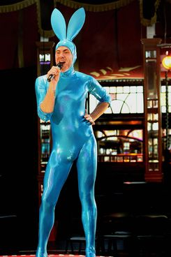"Performer ""Scotty the Blue Bunny"" from the theatrical phenomenon ""La Clique"" rehearses his spandex-clad comedy act at the Famous Spiegeltent in Sydney on Junuary 7, 2009. La Clique, appearing as part of the Sydney Festival from January 6 to February 1, is described as sexy, funny and dangerous and is a combination of cabaret, new burlesque, circus and contemporary vaudeville."
