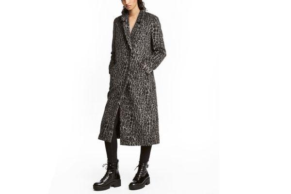 Wool-blend Leopard Coat