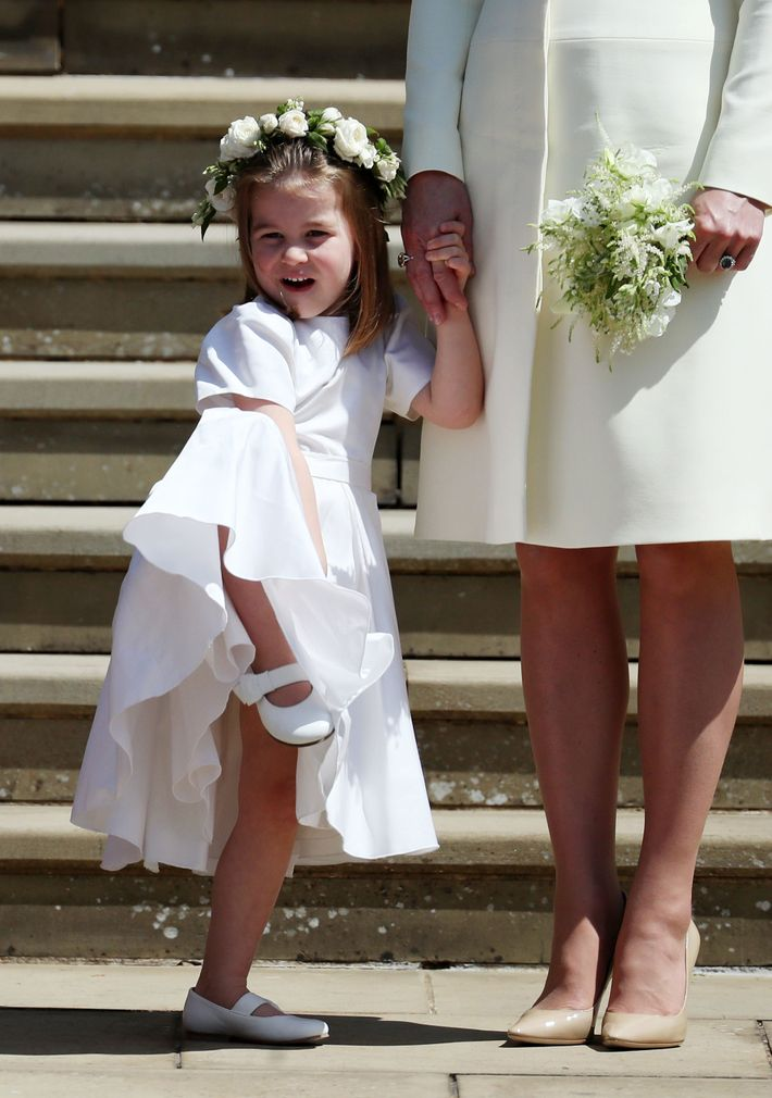 Princess Charlotte at the royal wedding.