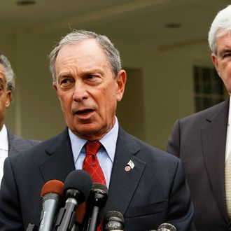 WASHINGTON - MAY 07: (L-R) The Rev. Al Sharpton, New York City Mayor Michael Bloomberg and former Speaker of the House Newt Gingrich (R-GA) speak to the media outside the West Wing of the White House May 7, 2009 in Washington, DC. The three had a meeting with President Obama to discuss education reform. (Photo by Alex Wong/Getty Images) *** Local Caption *** Michael Bloomberg;Al Sharpton;Newt Gingrich