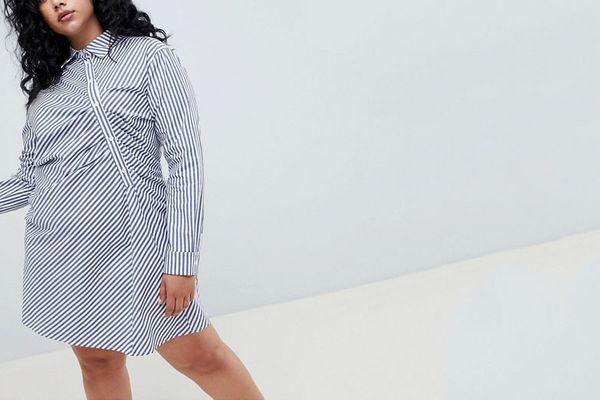 ASOS WHITE Curve shirt dress in stripe