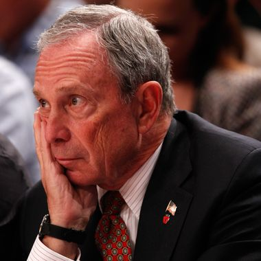 New York City Mayor Michael Bloomberg looks on as the New York Knicks play against the Miami Heat in Game Three of the Eastern Conference Quarterfinals in the 2012 NBA Playoffs on May 3, 2012 at Madison Square Garden in New York City.