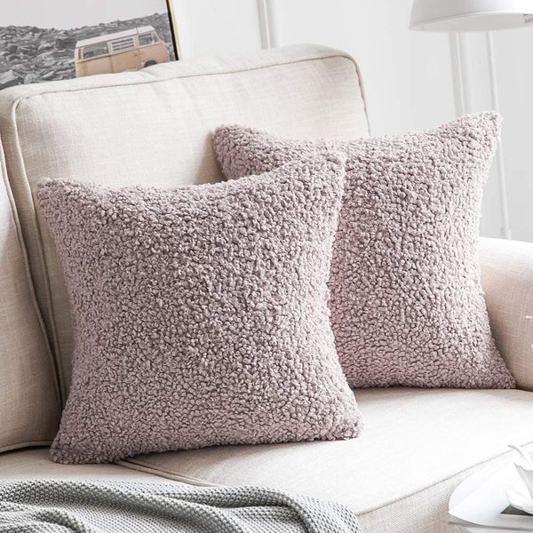 MIULEE Pack of 2 Decorative Pink Faux Fur Throw Pillow Covers