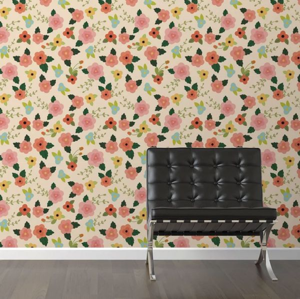 "Walls Need Love Lovely Lotus Removable 10' x 20"" Floral Wallpaper"