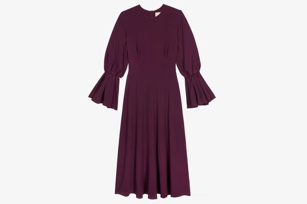 Roksanda Pleated Crepe Midi Dress