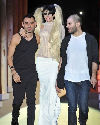 Formichetti and Gaga at the Mugler women's runway show in March.