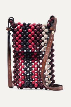 Ulla Johnson Dumi Faux Leather-Trimmed Beaded Shoulder Bag