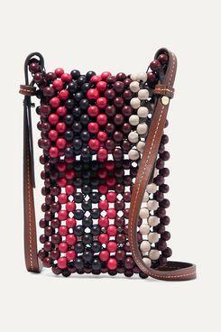 Ulla Johnson Dumi Faux Leather-Trimmed Beaded Shoulder Bag