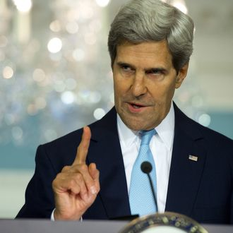 US Secretary of State John Kerry speaks about the situation in Syria from the Treaty Room at the State Department in Washington, DC on August 30, 2013. A US intelligence report August 30 blamed Syria's government for a chemical weapons attack with
