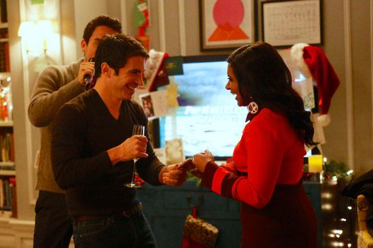 "THE MINDY PROJECT: Danny (Chris Messina, C) dances with Mindy (Mindy Kaling, R) during her Christmas party in the all-new holiday-themed ""Josh and Mindy's Christmas Party"" episode of THE MINDY PROJECT airing Tuesday, Dec. 11 (9:30-10:00 PM ET/PT) on FOX."