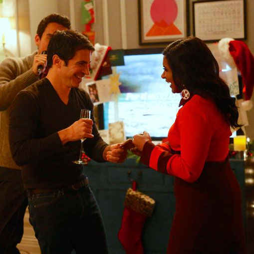 THE MINDY PROJECT: Danny (Chris Messina, C) dances with Mindy (Mindy Kaling, R) during her Christmas party in the all-new holiday-themed