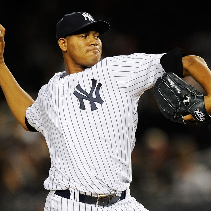 NEW YORK, NY - OCTOBER 01: Ivan Nova #47 of the New York Yankees throws a pitch against the Detroit Tigers in the third inning during Game One of the American League Division Series at Yankee Stadium on October 1, 2011 in the Bronx borough of New York City. (Photo by Patrick McDermott/Getty Images)