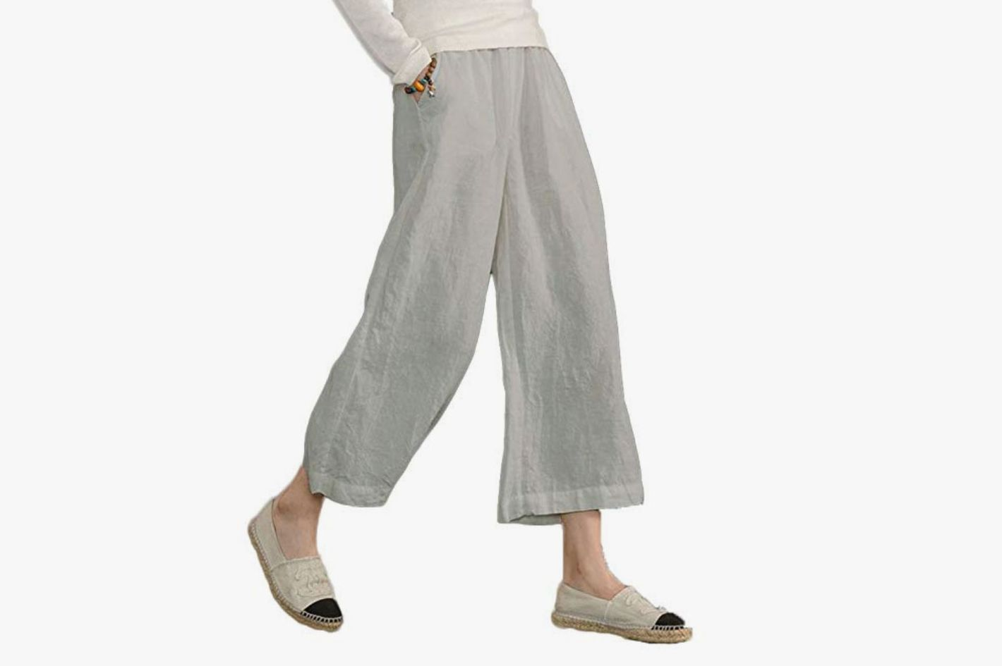 Ecupper Women's Elastic Waist Causal Loose Trousers Linen Cropped Wide Leg Pants