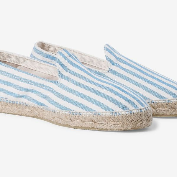 Drake's Striped Cotton Oxford Espadrilles