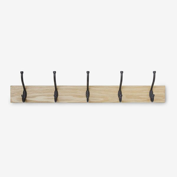 AmazonBasics Wall-Mounted Farmhouse Coat Rack, 5 Hooks, Natural
