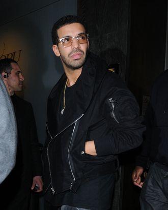 R&B singer Drake leaving the Nobu restaurant in Mayfair, London.