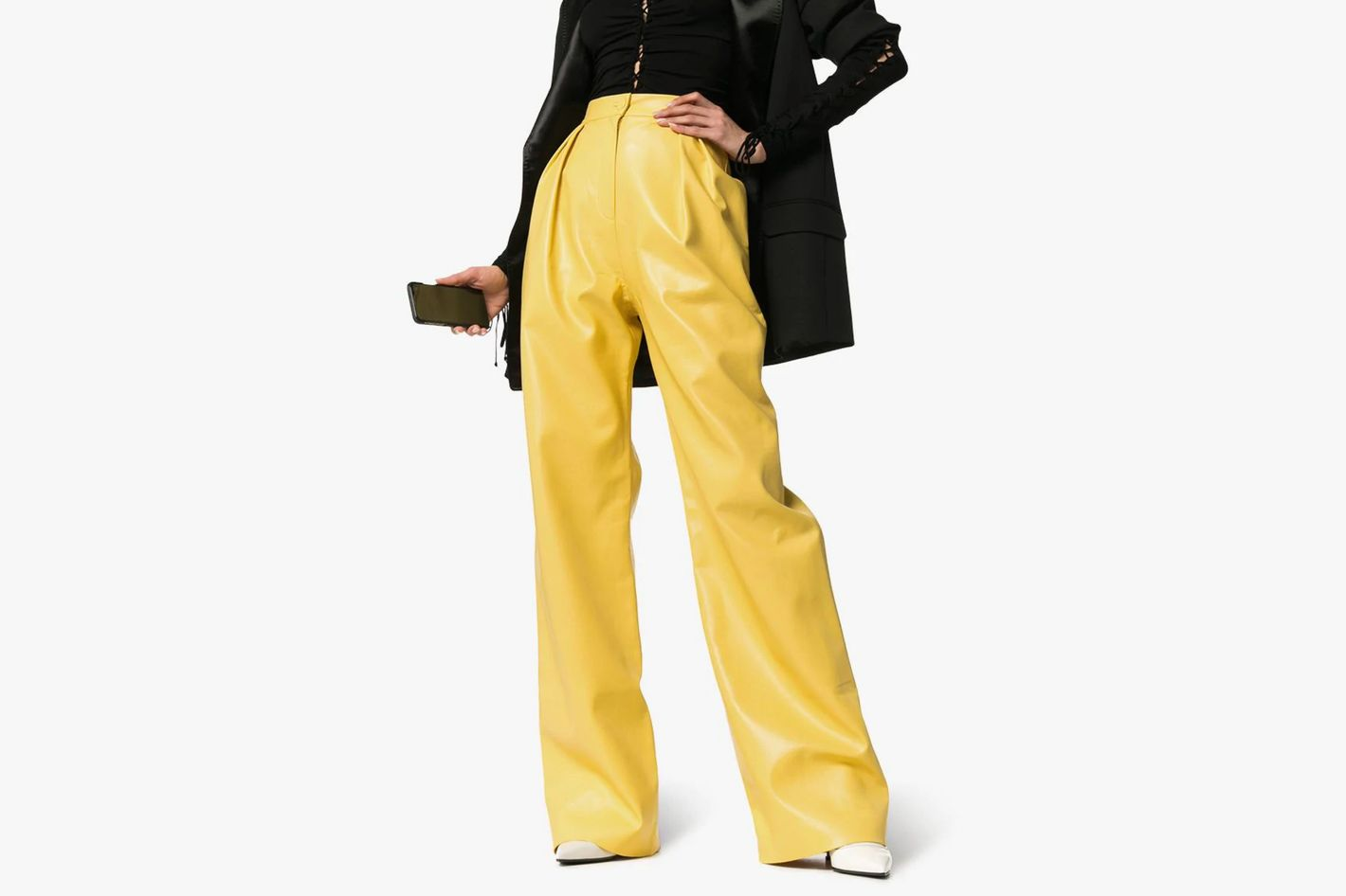 Materie High-Waisted Wide-Leg Faux-Leather Trousers