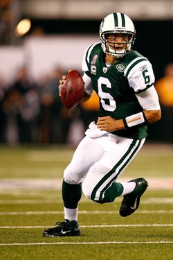 EAST RUTHERFORD, NJ - SEPTEMBER 11:  Mark Sanchez #6 of the New York Jets looks to pass against the Dallas Cowboys during their NFL Season Opening Game at MetLife Stadium on September 11, 2011 in East Rutherford, New Jersey. The Jets won 27-24.  (Photo by Jeff Zelevansky/Getty Images)