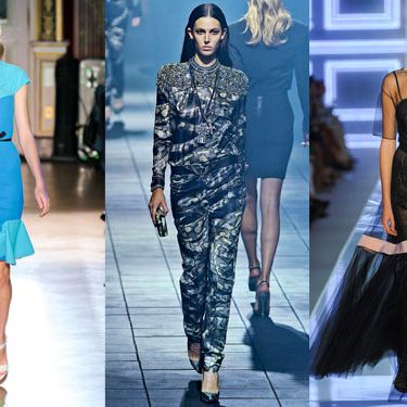 From left: new spring looks from Roland Mouret, Lanvin, and Christian Dior.