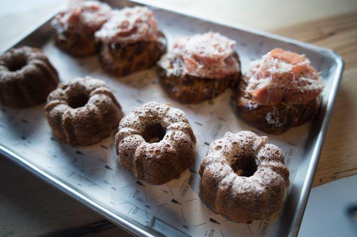 Kabocha squash cake, and red-eye Danish with coffee gravy and Benton's ham.