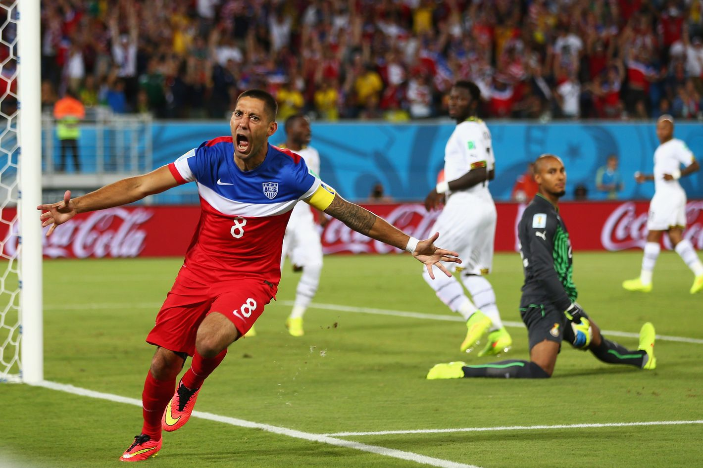 NATAL, BRAZIL - JUNE 16: Clint Dempsey of the United States reacts after scoring his team's first goal past goalkeeper Adam Kwarasey of Ghana during the 2014 FIFA World Cup Brazil Group G match between Ghana and the United States at Estadio das Dunas on June 16, 2014 in Natal, Brazil.  (Photo by Michael Steele/Getty Images)