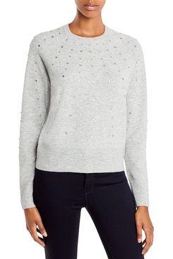 Aqua Rhinestone Cashmere Sweater