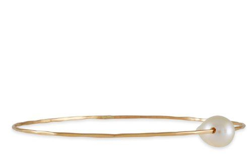 Melissa Joy Manning White Flame Pearl Bangle in 14K Gold