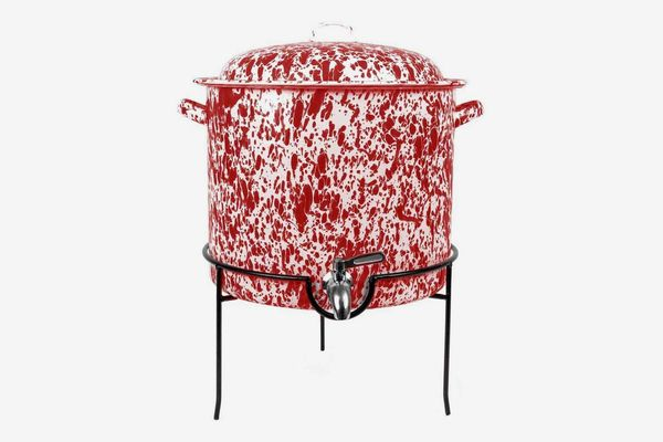 Crow Canyon Home Enamelware Beverage Dispenser with Rack, Red/White Splatter