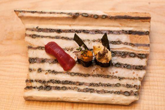 Sushi: Akami (lean tuna), trout, and shirako (cod sperm sac) with truffles