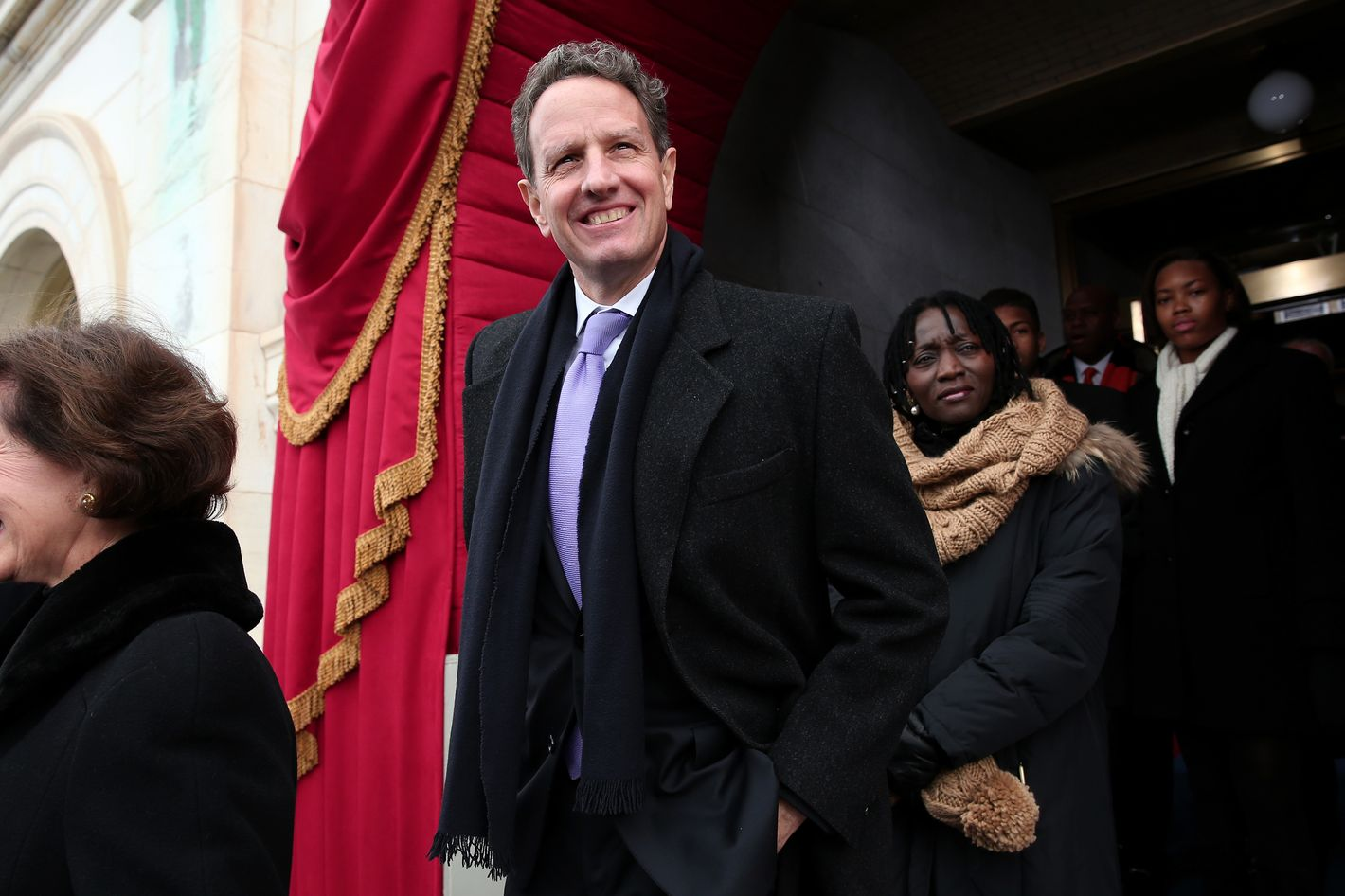 WASHINGTON, DC - JANUARY 21: Outgoing U.S. Treasury Secretary Timothy Geithner arrives during the presidential inauguration for U.S. President Barack Obama on the West Front of the U.S. Capitol January 21, 2013 in Washington, DC.   Barack Obama was re-elected for a second term as President of the United States.  (Photo by Win McNamee/Getty Images)
