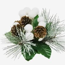 At Home Pinecone & White Berry Clip