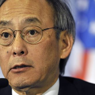 US Energy Secretary Steven Chu speaks during a press conference at the 2012 Seoul Nuclear Security Summit at the Coex Center in Seoul on March 26, 2012. The two-day meeting in South Korea is a follow-up to an inaugural summit in Washington in 2010 hosted by US President Barack Obama, which kick-started efforts to lock up fissile material around the globe that could make thousands of bombs. AFP PHOTO / NICOLAS ASFOURI (Photo credit should read NICOLAS ASFOURI/AFP/Getty Images)