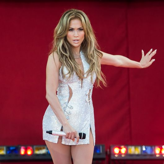"NEW YORK, NY - JUNE 20:  Actress/singer Jennifer Lopez performs On ABC's ""Good Morning America"" at Rumsey Playfield on June 20, 2014 in New York City.  (Photo by Gilbert Carrasquillo/FilmMagic)"