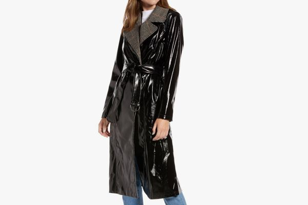 Something Navy Glossy Trench Coat