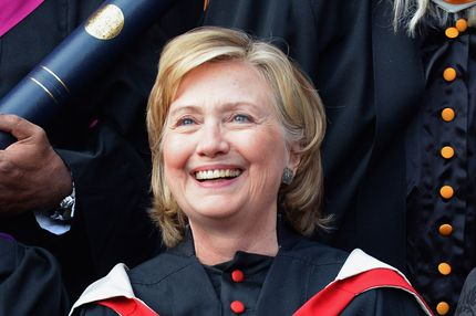 Former US Secretary of State Hillary Clinton poses for pictures at St Andrews University on September 13, 2013 in St Andrews, Scotland. Mrs Clinton is receiving an honorary doctor of law degree from St Andrews University, which is marking its 600th anniversary of the founding of Scotland's oldest university.
