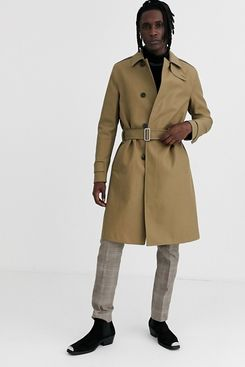 AllSaints Trench Coat with Belt in Light Brown