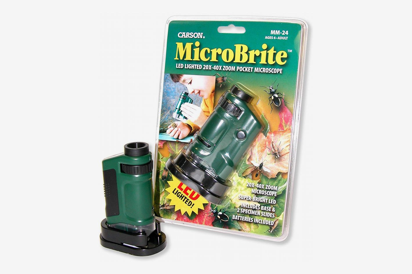 Carson MicroBrite 20x-40x LED Lighted Pocket Microscope