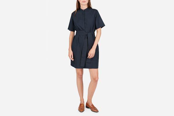 Everlane Cotton Collarless Belted Shirtdress