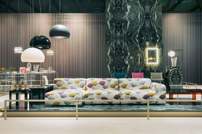 """The Kartell booth featured a Piero Lissoni """"Largo"""" patterned sectional. Photo: Courtesy of Kartell"""