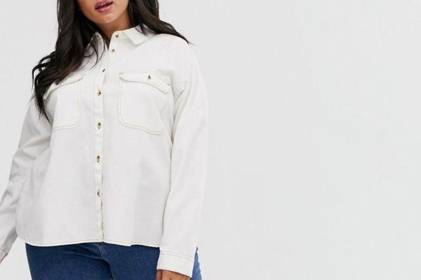 ASOS DESIGN Curve Denim Shirt in White