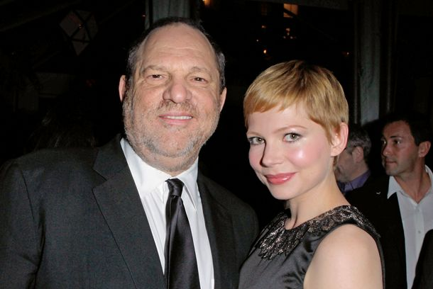 LOS ANGELES, CA - JANUARY 11:  Harvey Weinstein poses with actress Michelle Williams at the party hosted by the Weinstein Company and Audi to celebrate awards season at Chateau Marmont on January 11, 2012 in Los Angeles, California.  (Photo by Jeff Vespa/Getty Images for Audi)