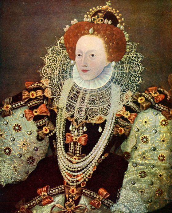 Royal redhead Queen Elizabeth I inherited her reddish-gold hue from King Henry VIII. A striking contrast to her alabaster skin, the queen wears her hair down in the Coronation portrait (a circa 1600 copy of the 1558 original). In most other images, Gloriana's hair is elaborately coiffed and offset by her ruff and her crown. Known to wear wigs in her later years, Elizabeth concealed her gray and her age, although she was not balding as some have suggested.