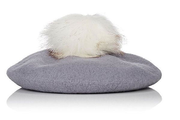 Barneys New York Pom-Pom-Embellished Wool Beret