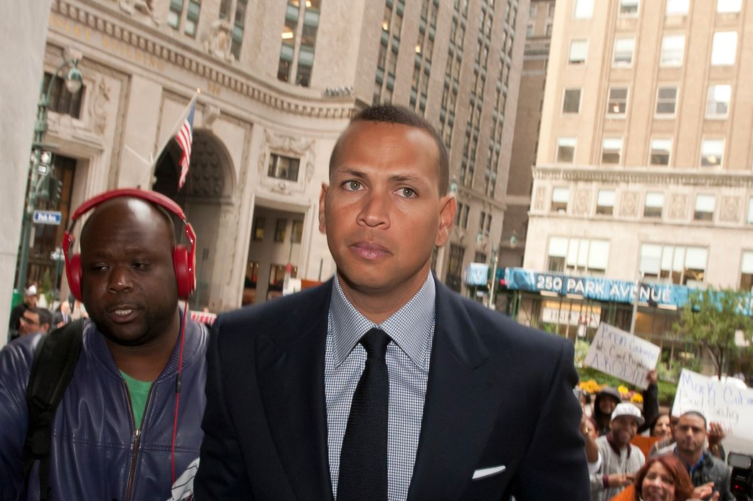 Alex Rodriguez greeting fans while arriving at Major League Baseball office at 245 Park Avenue, NYC.