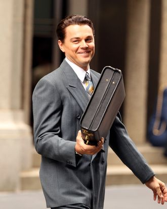 Leonardo DiCaprio on location at Wall Street in New York City, on the first day of filming of 'The Wolf Of Wall Street'. <P> Pictured: Leonardo DiCaprio <P> <B>Ref: SPL429335 250812 </B><BR/> Picture by: Allan Bregg / Splash News<BR/> </P><P> <B>Splash News and Pictures</B><BR/> Los Angeles:	310-821-2666<BR/> New York:	212-619-2666<BR/> London:	870-934-2666<BR/> photodesk@splashnews.com<BR/> </P>