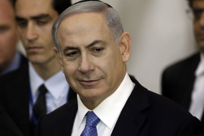 Israeli Prime Minister Benjamin Netanyahu on March 18, 2015, at the Wailing Wall in Jerusalem following his party Likud's victory in Israel's general election.
