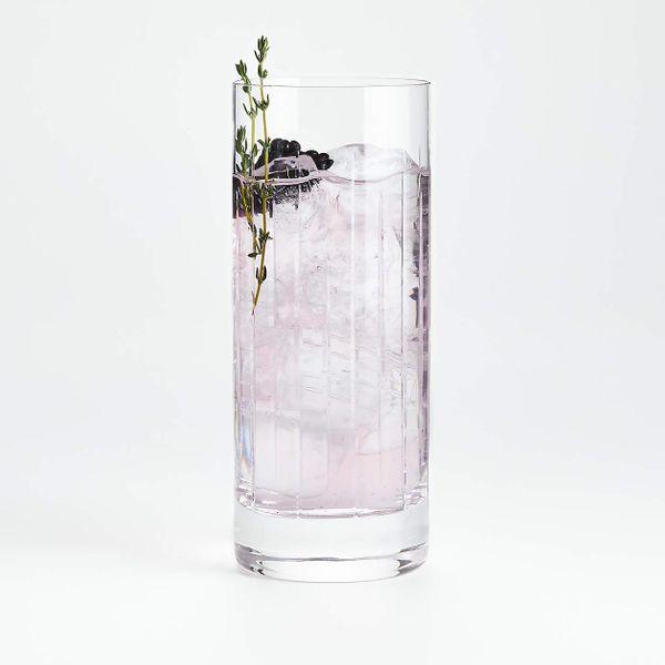 Crate & Barrel Vance Cut-Glass Highball Glass