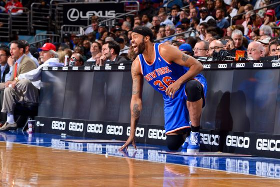 Rasheed Wallace #36 of the New York Knicks waits to check into the game against the Philadelphia 76ers at the Wells Fargo Center on November 5, 2012 in Philadelphia, Pennsylvania.