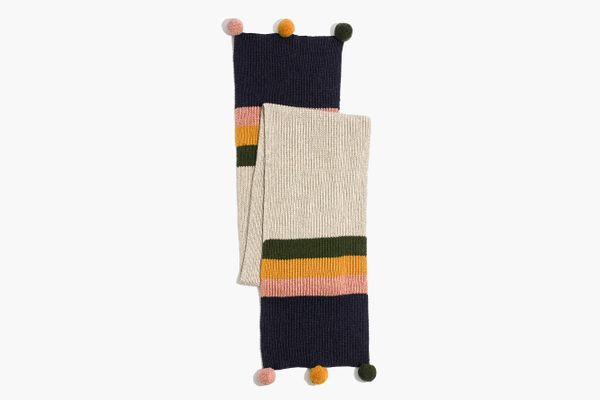 Madewell Striped Pom-Pom Scarf